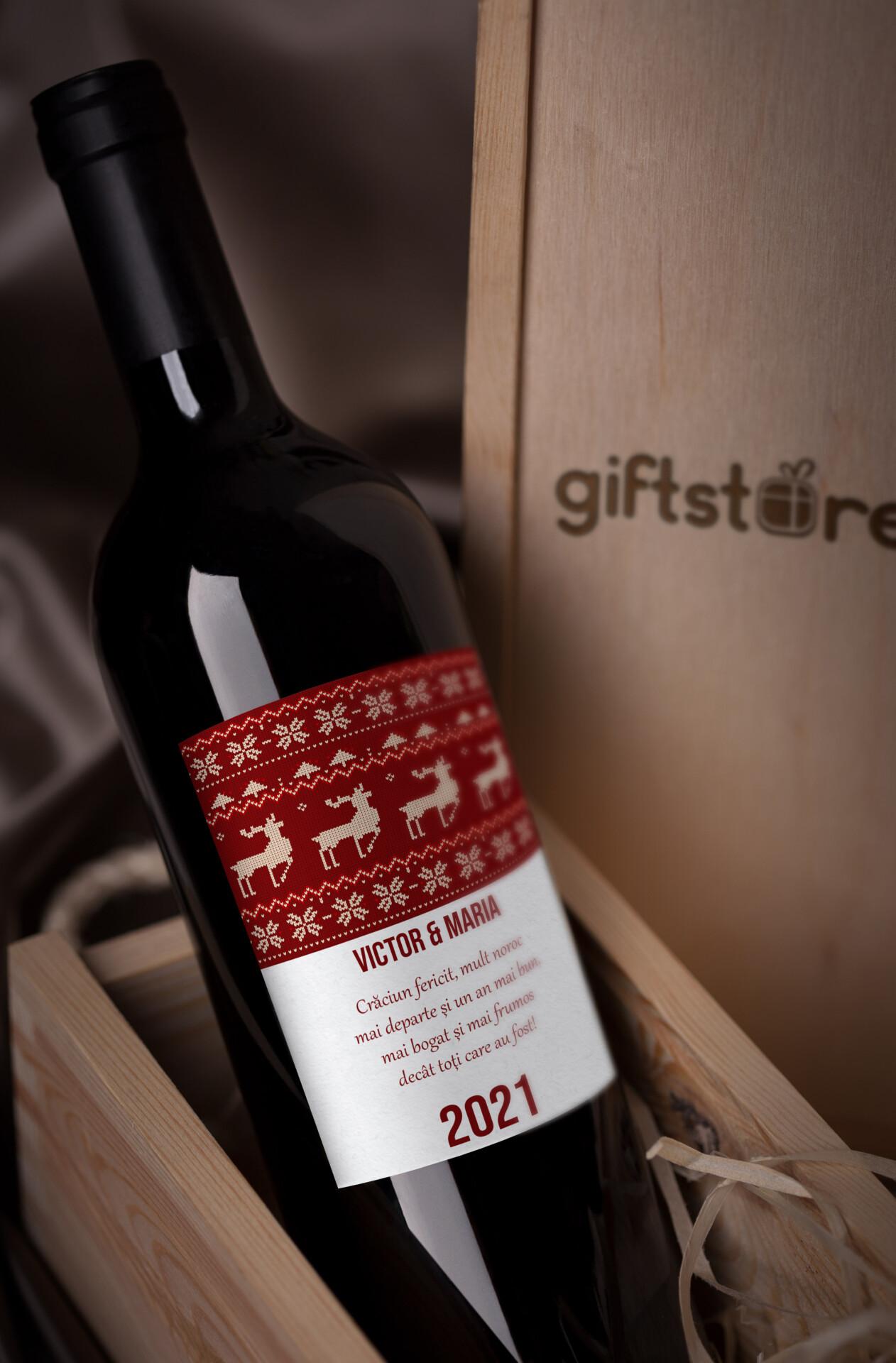 vin personalizat cu nume si mesaj